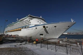 Wednesday, Jan. 29, 2014, in Bayonne, NJ (John Makely / NBC News)</p><br /> <p>The Explorer of the Seas cruise ship returns to port after hundreds of passengers b...