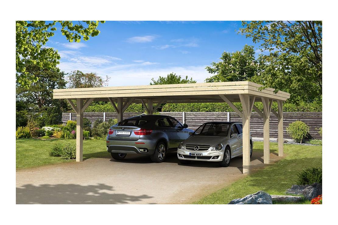 carport 2 voiture brehat toit plat 40 8m couvert