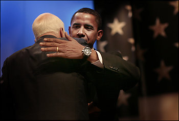 Sens. John McCain and Barack Obama, who have fought particularly fiercely in the presidential campaign of late, looked more like allies at the ServiceNation forum.