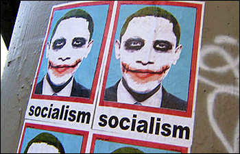 """President Obama made up as the Heath Ledger-era Joker, with the word """"socialism"""" emblazoned below. The new poster has two basic thrusts: Obama is a socialist, or a crypto-socialist; and he's somehow like the Joker, unpredictable and dangerous. The anonymous poster, found in Los Angeles, has been the talk of the blogosphere."""