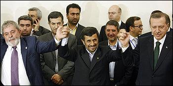 Iranian President Mahmoud Ahmadinejad, center, with Brazilian President Luiz Inacio Lula da Silva, left, and Turkish Prime Minister Recep Tayyip Erdogan.