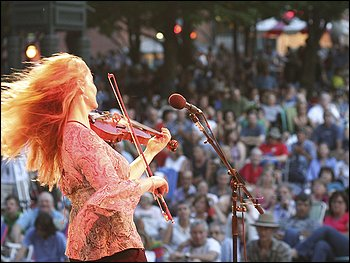 SWEET SOUNDS: Most festivals offered musical acts, such Niamh Ní Charra, here at the 2009 Lowell (Mass.) Folk Festival.
