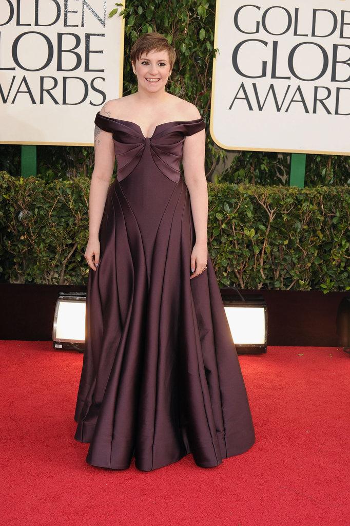 Lena Dunham in Zac Posen at the 2013 Golden Globe Awards
