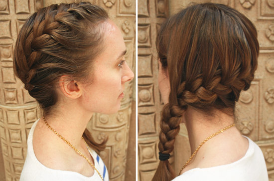 How to Do a Side French Braid   POPSUGAR Beauty Once all the hair is incorporated  finish braiding traditionally  Secure  with an elastic band