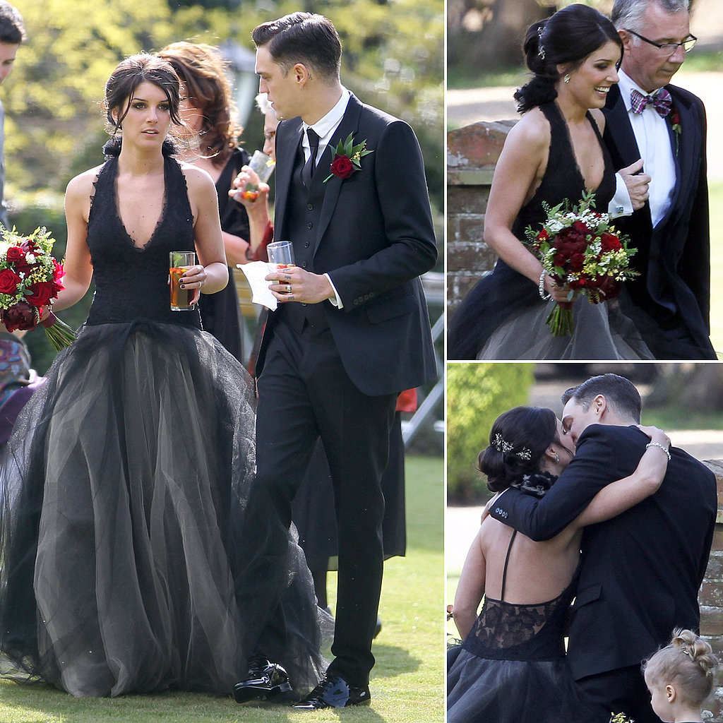 Shenae Grimes wearing a black wedding dress