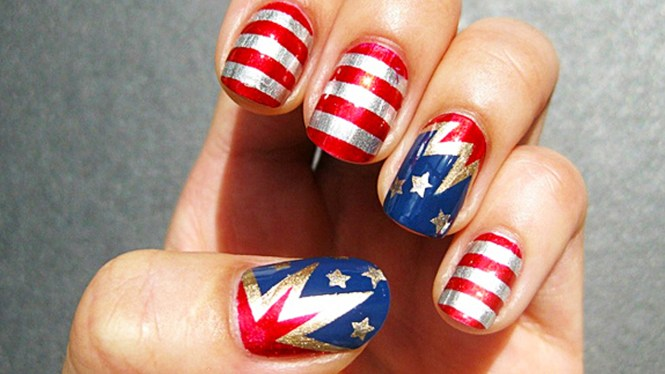 Wehotflash Nail Art Design Red White And Blue