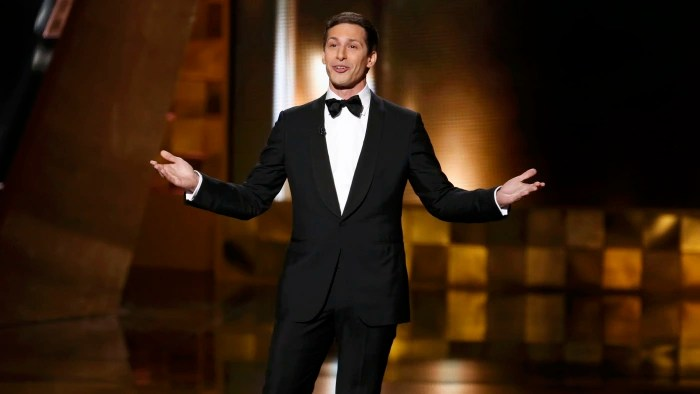 Image: Host Andy Samberg performs at the 67th Primetime Emmy Awards in Los Angeles