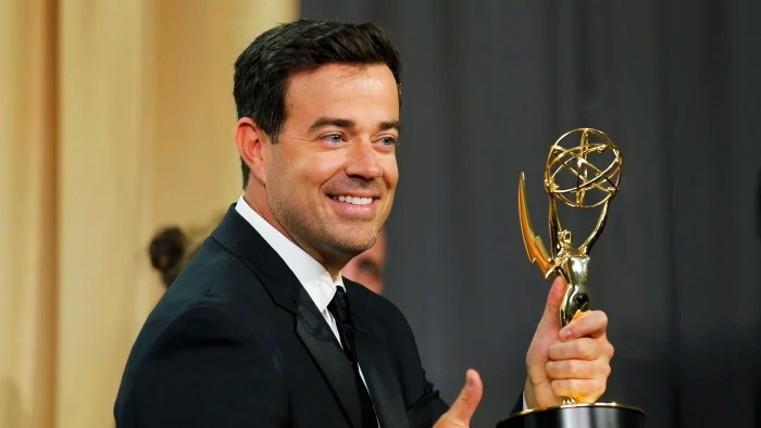 Image: Carson Daly holds the award for Outstanding Reality-Competition Program during the 67th Primetime Emmy Awards in Los Angeles