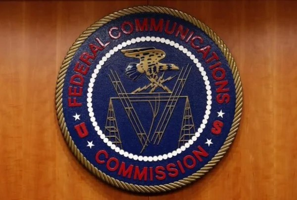 The Federal Communications Commission (FCC) logo is seen before the FCC Net Neutrality hearing in Washington