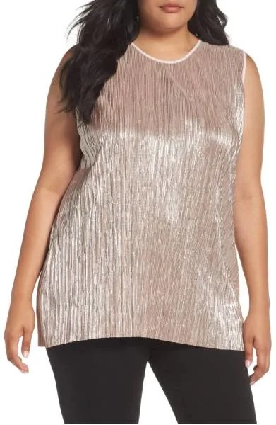 Crushed Foil Pleated Top Plus Size Nordstrom's sale