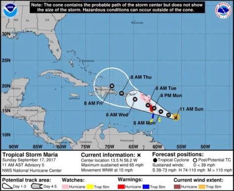 Image: A NOAA graphic tracks the progress of Hurricane Maria, Sept. 17, 2017.