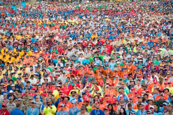 Image: Boy Scouts listen as President Donald Trump speaks during the National Boy Scout Jamboree
