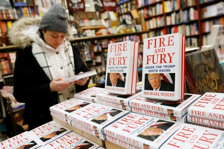 "Image: Copies of the book ""Fire and Fury: Inside the Trump White House"""
