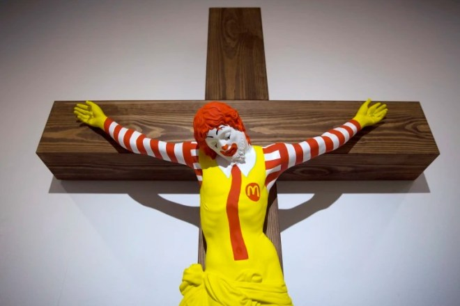 """The """"McJesus"""" artwork was sculpted by Finnish artist Jani Leinonen.Oded Balilty / AP"""