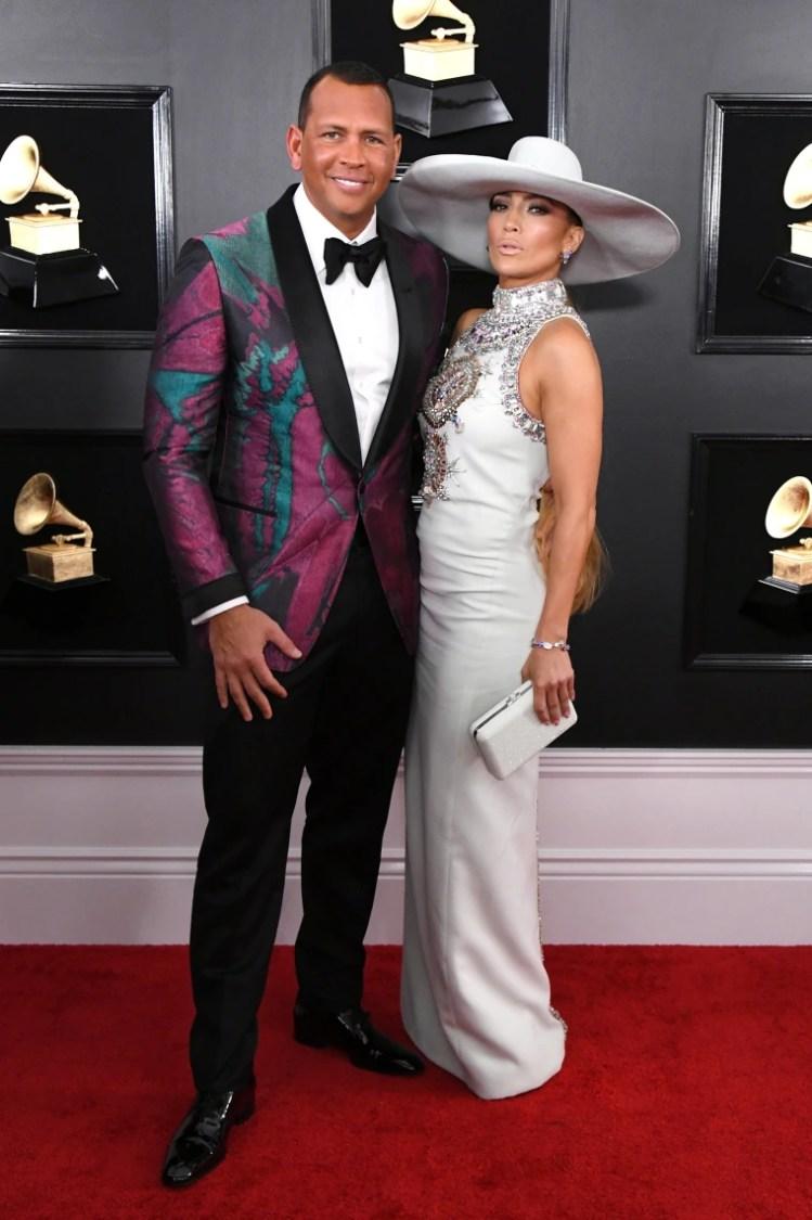 Image: Jennifer Lopez and Alex Rodriguez at Grammys 2019
