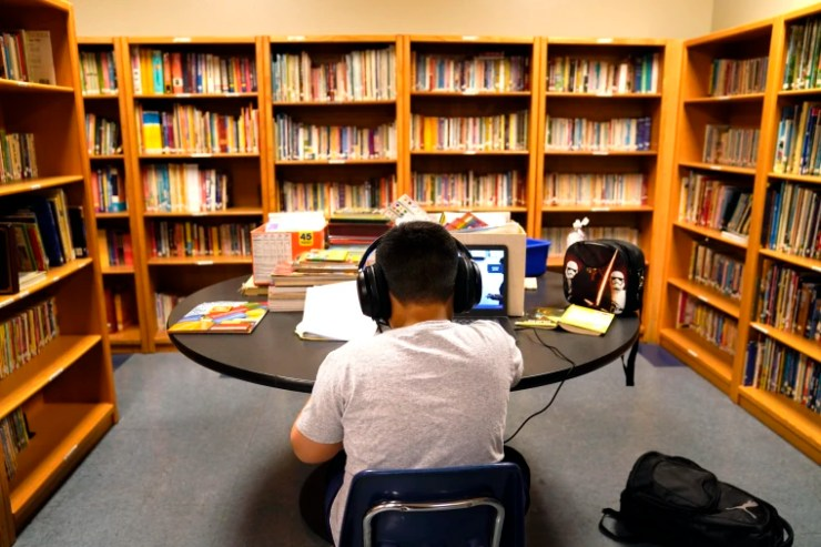 Image: Student attends online class