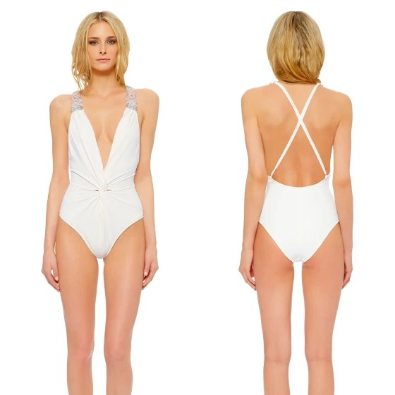Image: Model wearing a Mara Hoffman one-piece bridal swimsuit