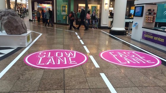 "A British mall has created a ""fast lane"" and a ""slow lane"" after getting a letter by a young girl complaining of being stuck behind slow shoppers."