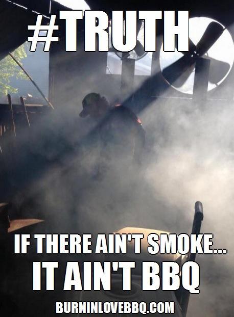Røyk er helt nødvendig når en lager barbecue. Å helle en haug med ekkel klissete saus på kjøttet gjør det ikke til barbecue!