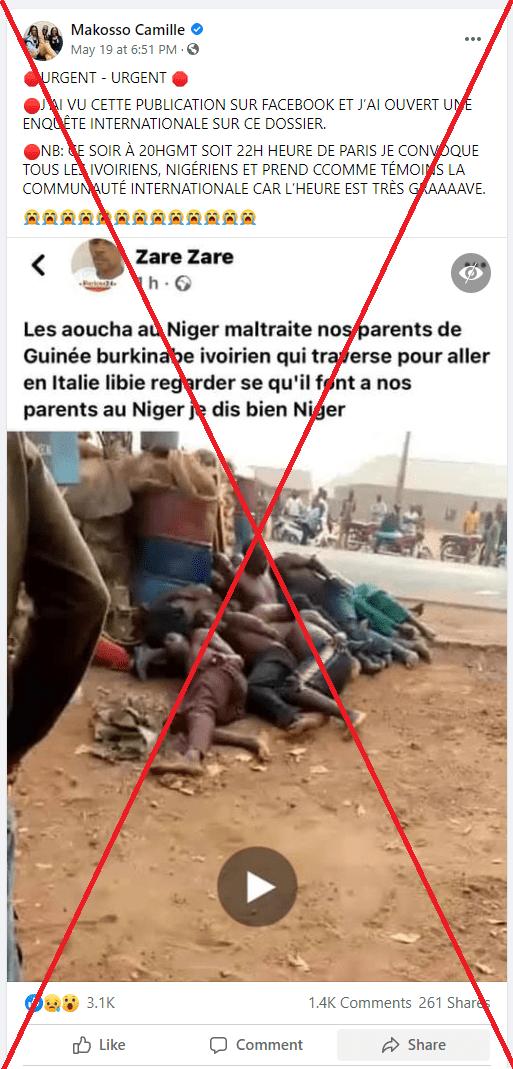 Fact-Checking   Attention, les images qui ont entraîné des affrontements en Côte d'Ivoire ne montrent pas des Ivoiriens violentés au Niger