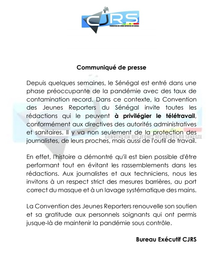 Pandémie à Covid-19 : La Convention des Jeunes Reporters du Sénégal appelle au télétravail