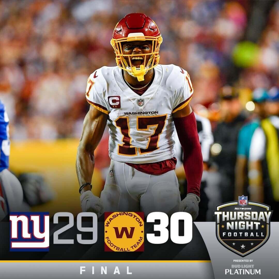 Football américain : les Giants s'offrent Washington sur le fil
