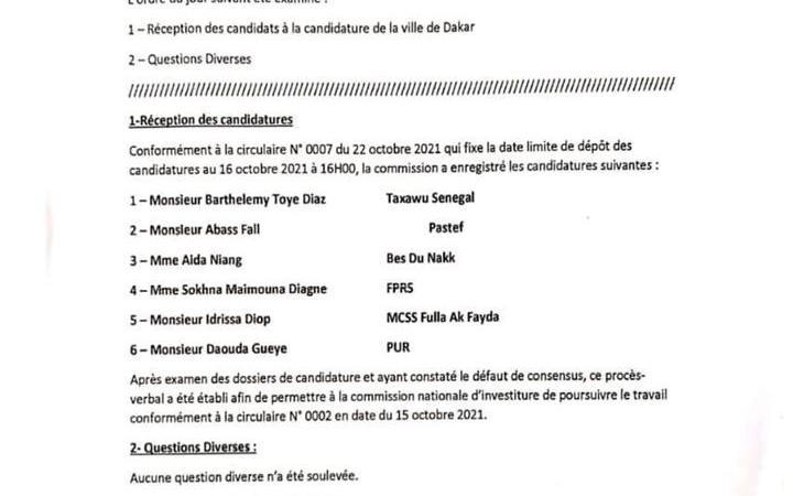 Mairie de Dakar : la commission d'investiture de Yewwi Askan Wi enregistre 6 candidatures mais pas celle de Soham Wardini