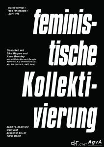 Plakat der Veranstaltung feministische Kollektivierung mit weißer Schrift auf schwarzem Hintergrund