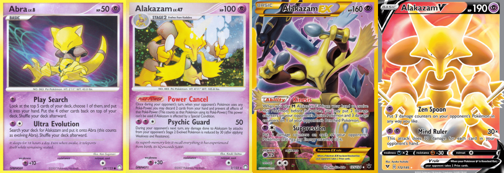 one Abra and three Alakazam cards from the Pokémon Trading Card Game