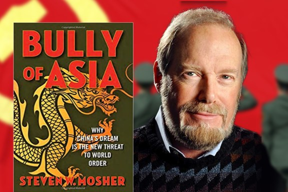 Steven Mosher via patrickcoffin.media; Hammer & Sickle by cfr.org; Book image by ebay.com