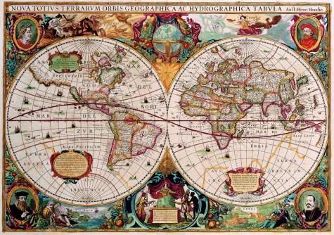 Double Hemisphere Map Henricus Hondius (c 1630)