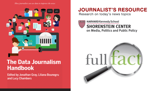 Full Fact, Journalist's Resource, and the Data Journalism Handbook: Three tools that help journalists quickly sort through data for their reporting.