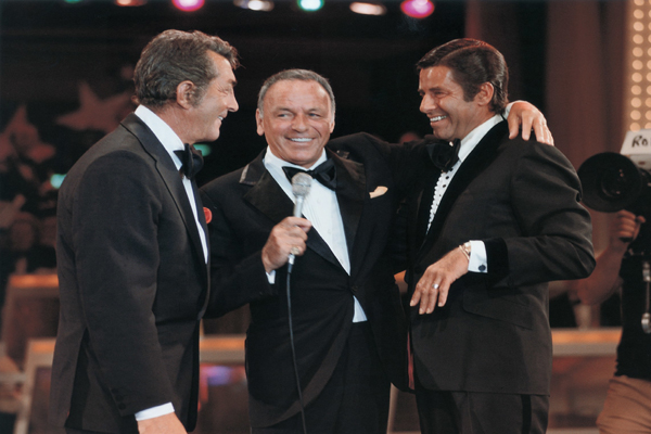 Frank Sinatra orchestrated one of the most surprising and touching moments in television history when he reunited estranged partners Dean Martin and Jerry Lewis on the 1976 Telethon. (PRNewsFoto/Muscular Dystrophy Association)