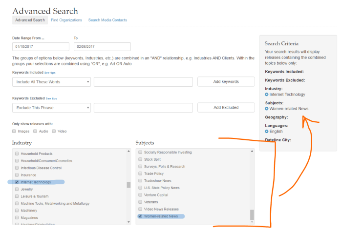 PR Newswire for Journalists Story Ideas Advanced Search Tool