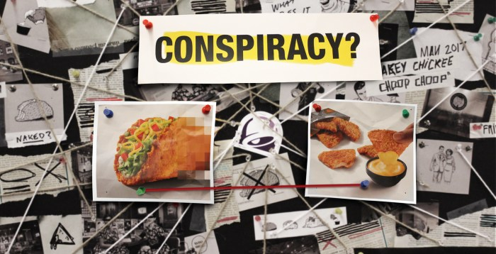 The return of Taco Bell's Naked Chicken also means the return of The Council For Eating Fried Chicken The Same Way You Always Have. The group dedicated to preserving traditional chicken values sees some delicious similarities between the Naked Chicken Chalupa and the new Naked Chicken Chips. Coincidence?