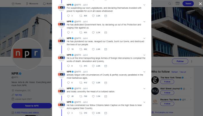 NPR on Twitter Declaration of Independence