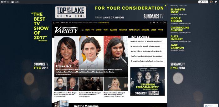 Screenshot of variety.com homepage