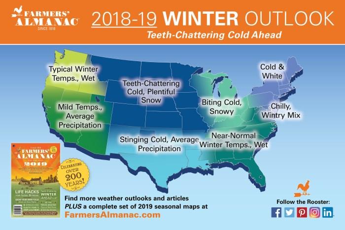 US Farmers Almanac 2018-19 Winter Outlook Map