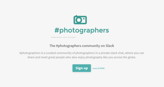 #photographers community on Slack