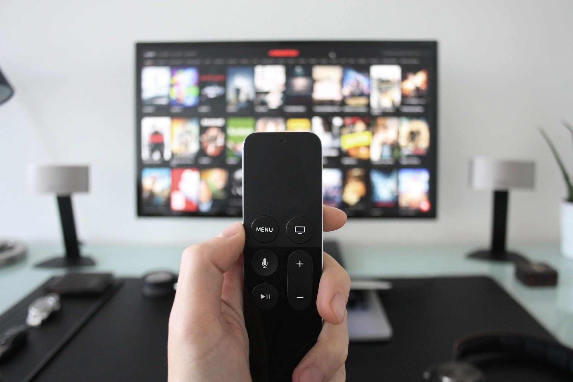 Remote and television in room