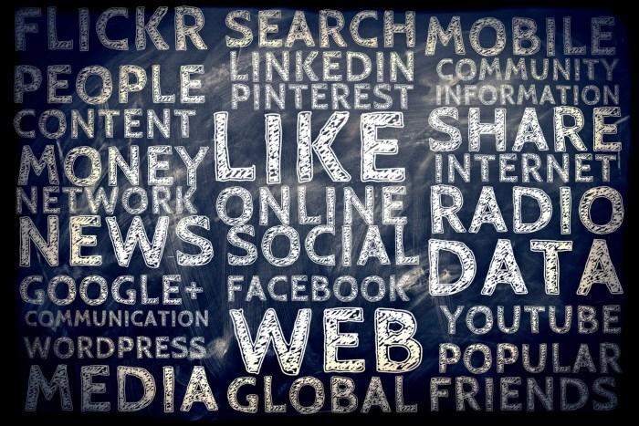 A variety of social media words