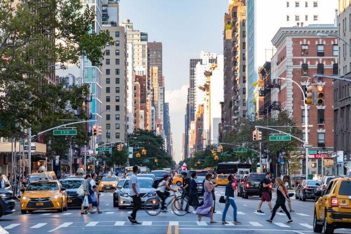 Pedestrians crossing the street in New York City
