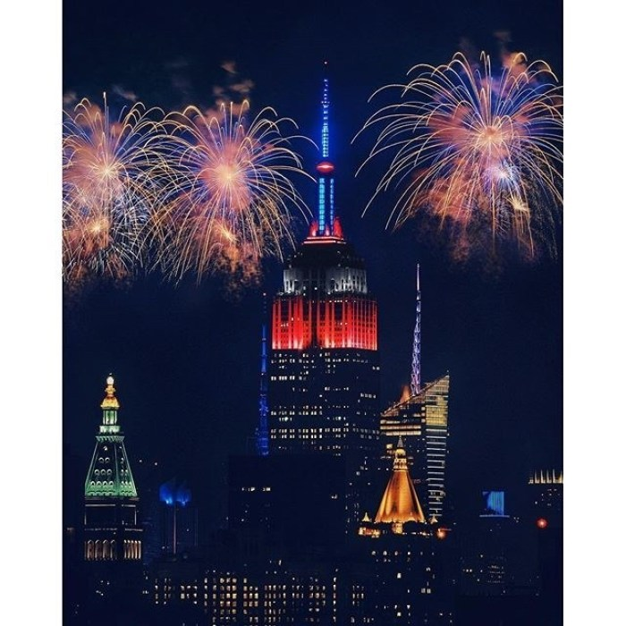 Empire State Building with July 4 fireworks