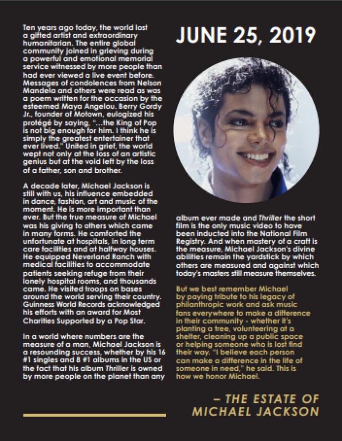 Michael Jackson Estate statement