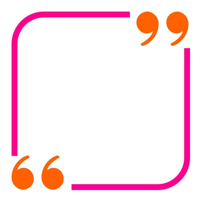 Empty pink square with quote marks on opposite corners