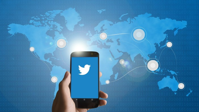 Hand holding a smartphone with Twitter logo on it