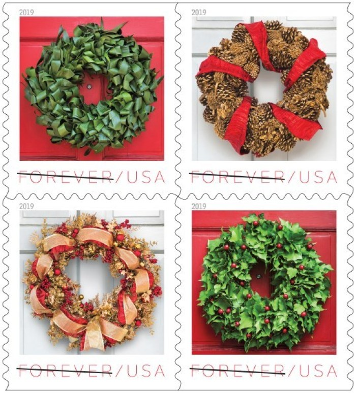 US Postal Service Holiday Wreaths Stamps 2019