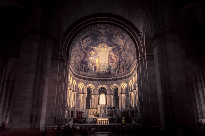 architectural photography of church interior