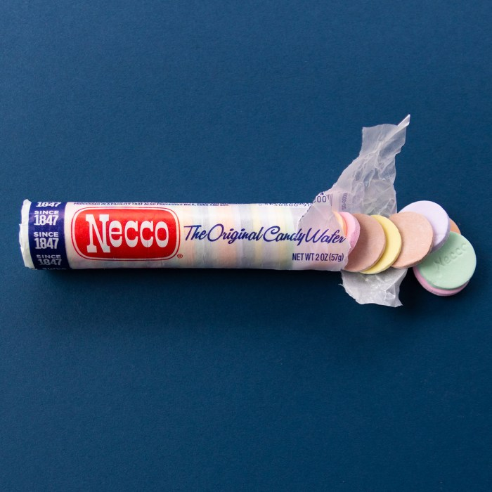 Package of open Necco Wafers