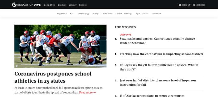 Top Education News Sites - Education Dive